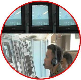 Awak pesawat Boeing A-7303 sedang mengoperasikan kamera wes camp dari dalam pesawat pada Operasi Pengamanan Kawasan Ambalat, dalam rangka mendeteksi ada/tidaknya target.  Tampak dalam layar monitor kamera pesawat tertangkap sebuah kapal niaga sedang melintas di Kawasan Ambalat. (Foto : Penkoopsau II)